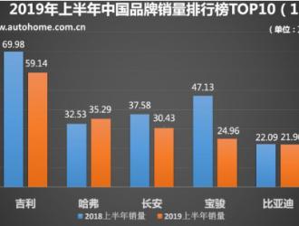 吉利夺冠 评2019上半年中国品牌销量