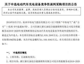 中恒电气1550万元中标浙石油电动汽车充电设